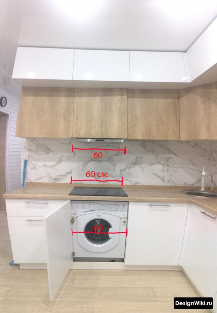 Размеры для встраивания техники в угловой кухне