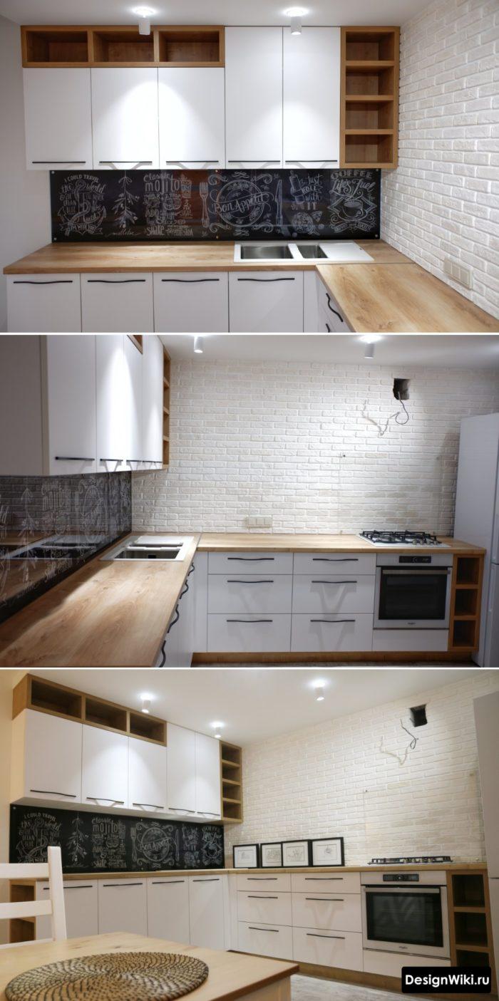 Современная угловая кухня без верхних шкафов с одной стороны