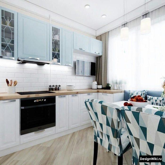 Современный дизайн кухни с балконом со шторами с 1 стороны