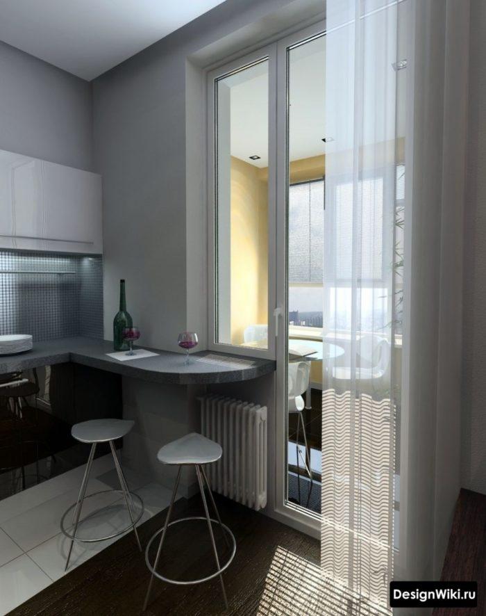 Тюль на кухне с балконом