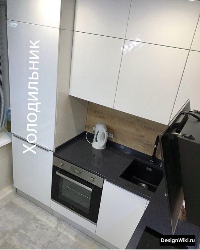 дизайн кухни в хрущевке 6 кв м с холодильником