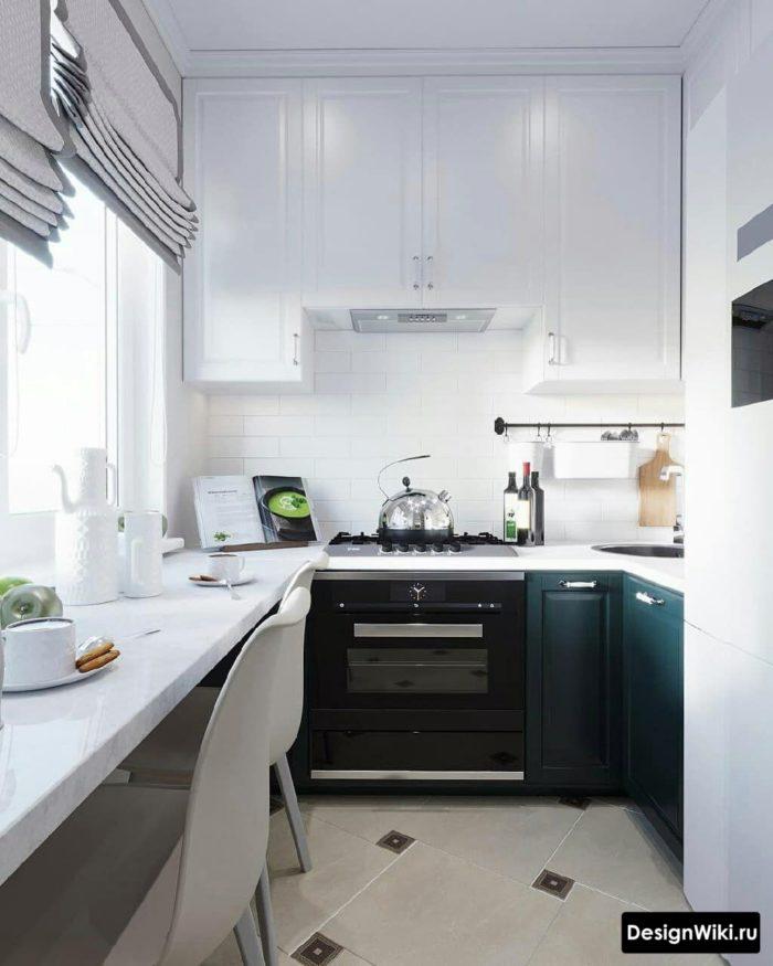 дизайн кухни 6 квадратных метров с холодильником