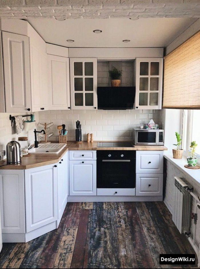 дизайн кухни 6 метров с холодильником