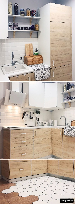 дизайн кухни 6 м2 с холодильником