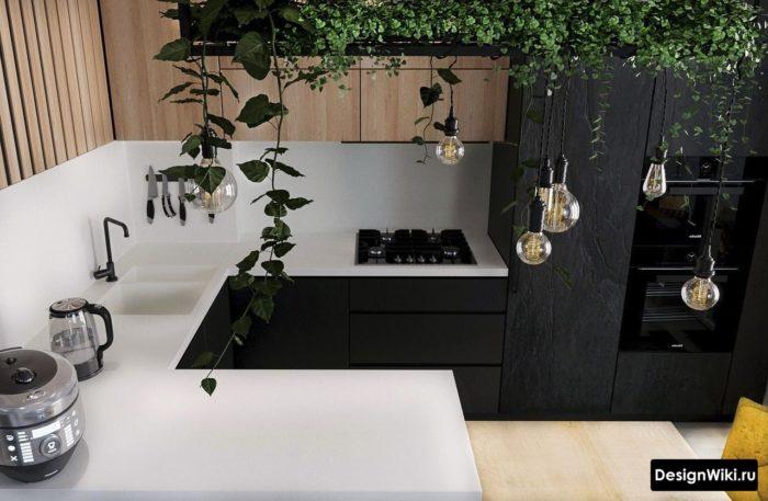 дизайн современной п-образной кухни
