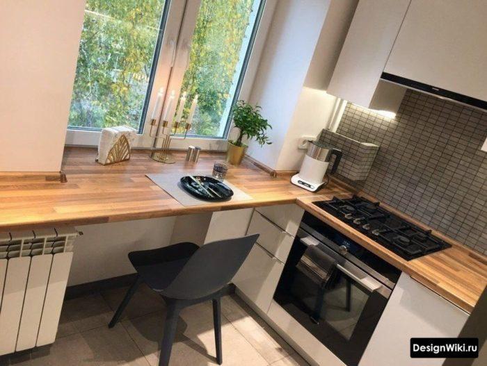 кухни п образные решения с окном