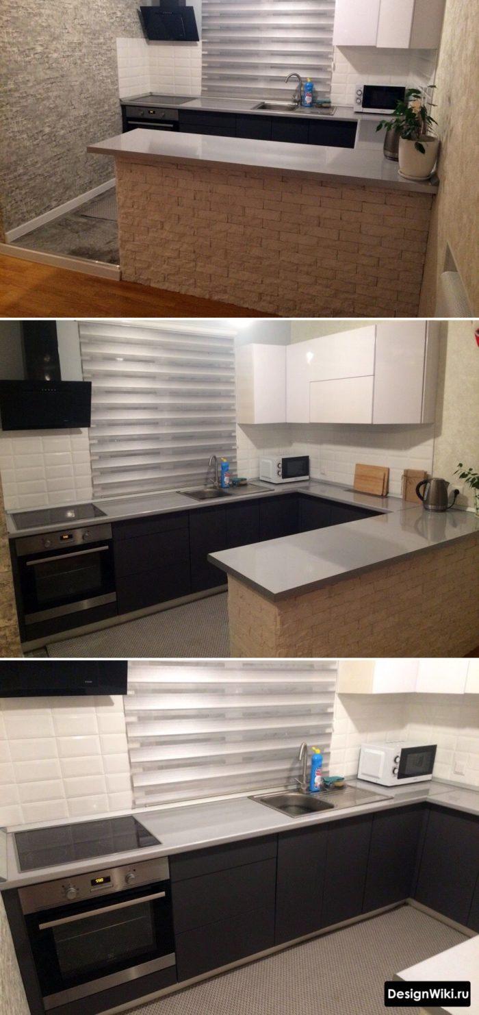 кухня буквой г с окном