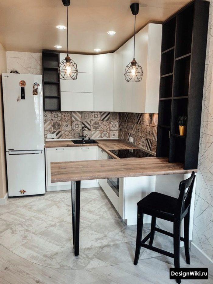 кухня буквой п с барной стойкой в современном стиле
