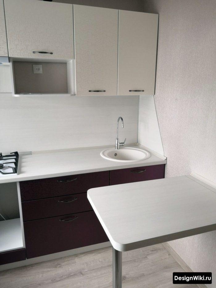 кухня 6 квадратов дизайн хрущевка с холодильником