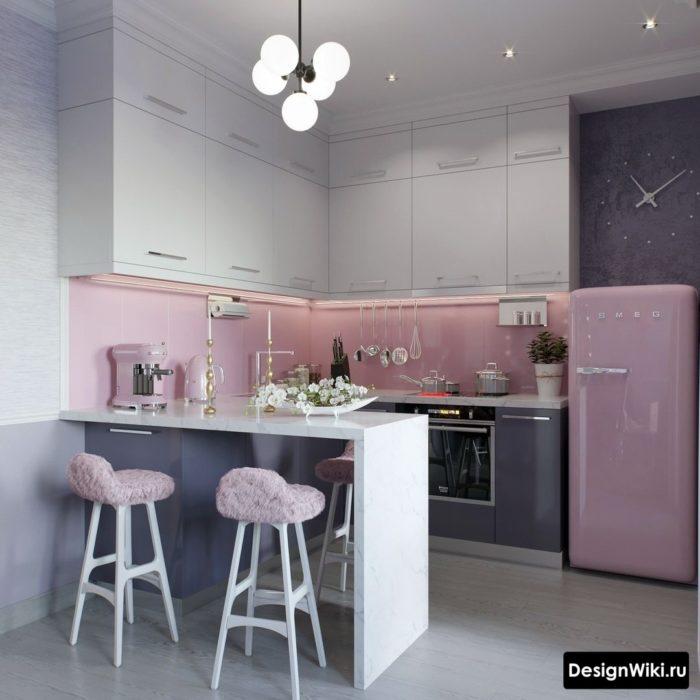 кухня 6 кв метров дизайн с холодильником