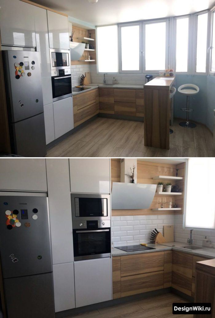 отдельностоящий холодильник встроенный в п-образную кухню