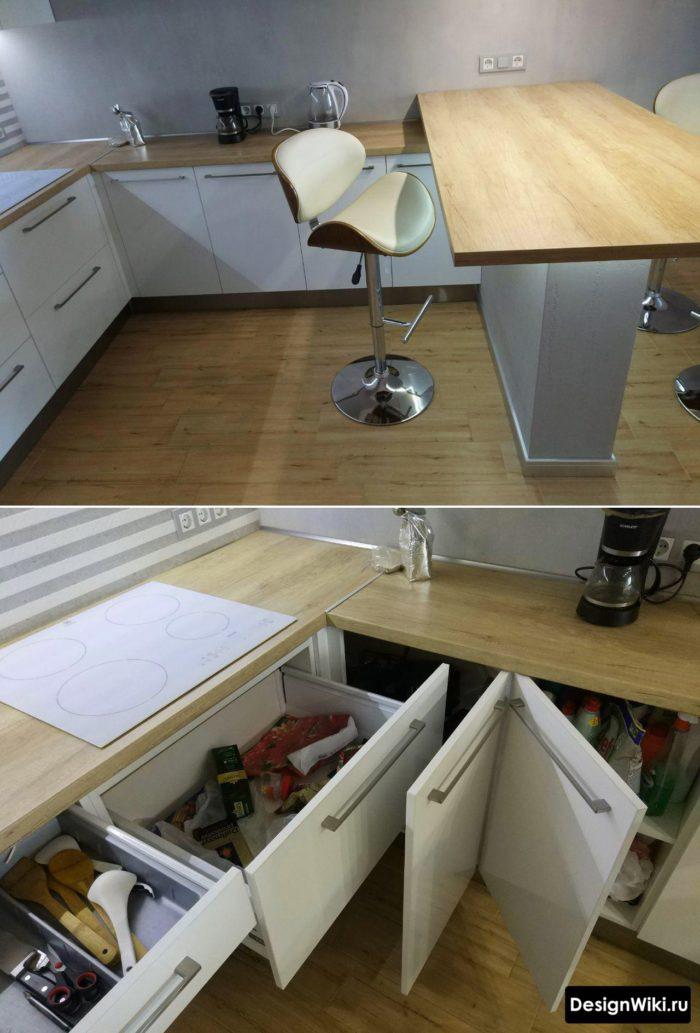 планировка п-образной кухни с барной стокой