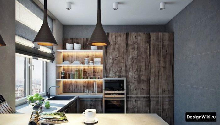 п-образная кухня в стиле лофт