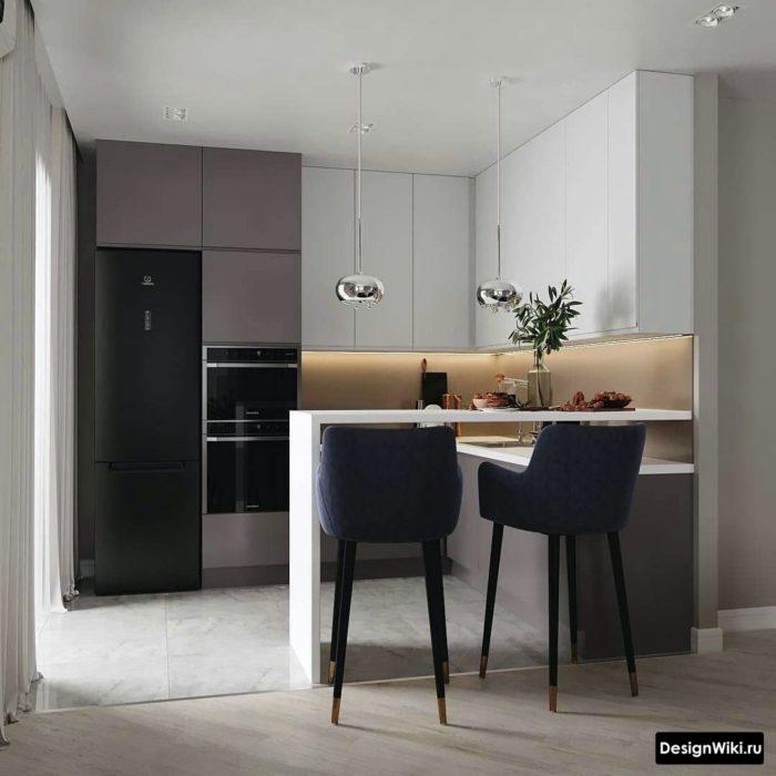п образная кухня с барной стойкой совмещенная с гостиной_1