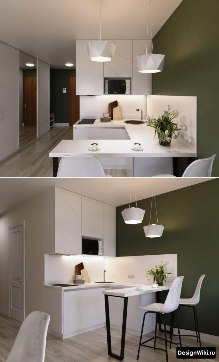 п образная кухня с окном и барной стойкой
