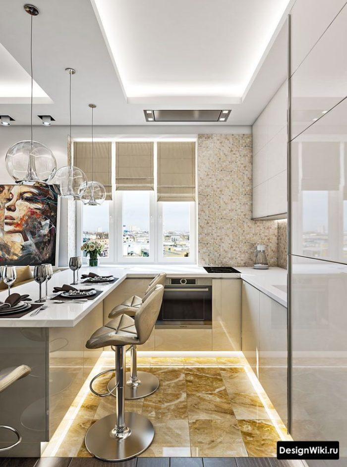 п образной кухни с окном