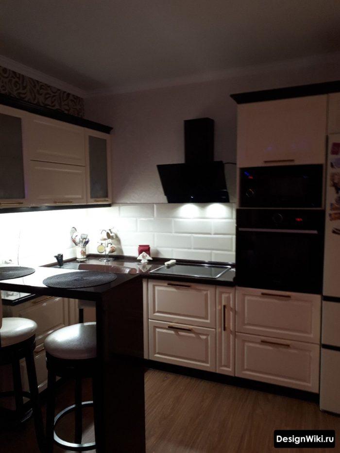 освещение в п-образной кухне