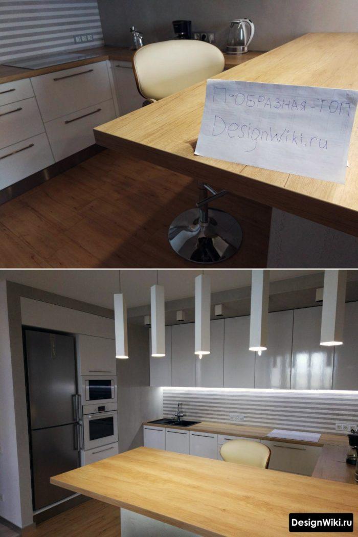 современная белая п-образная кухня с барной стойкой