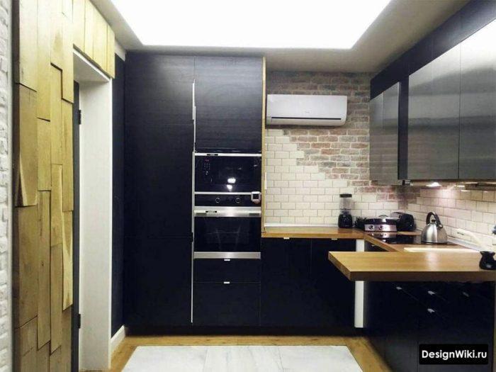 угловая кухня без верхних навесных шкафов дизайн
