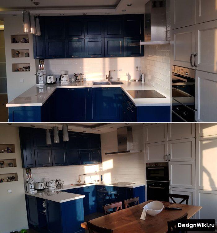 угловая кухня синяя п-образная