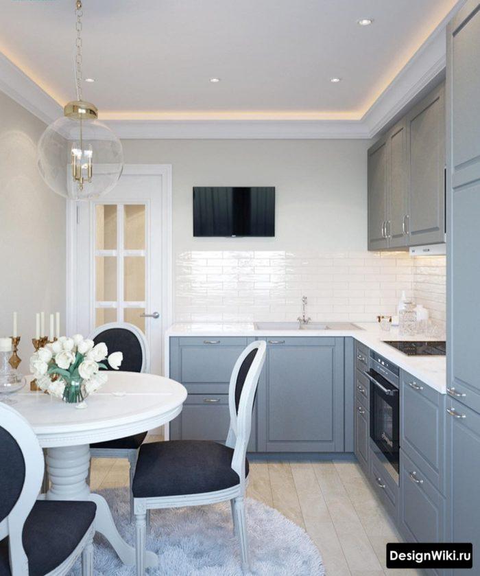угловые кухни для маленькой кухни 6 метров с холодильником