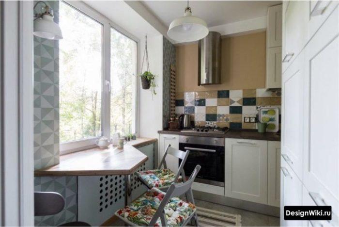 6 метров кухня без штор