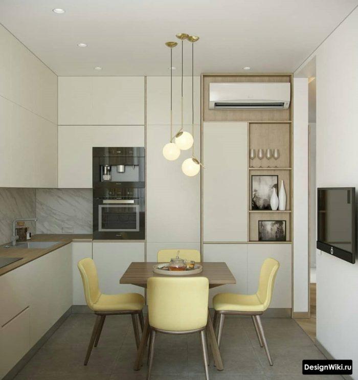 дизайн кухни 9 кв м с диваном и телевизором