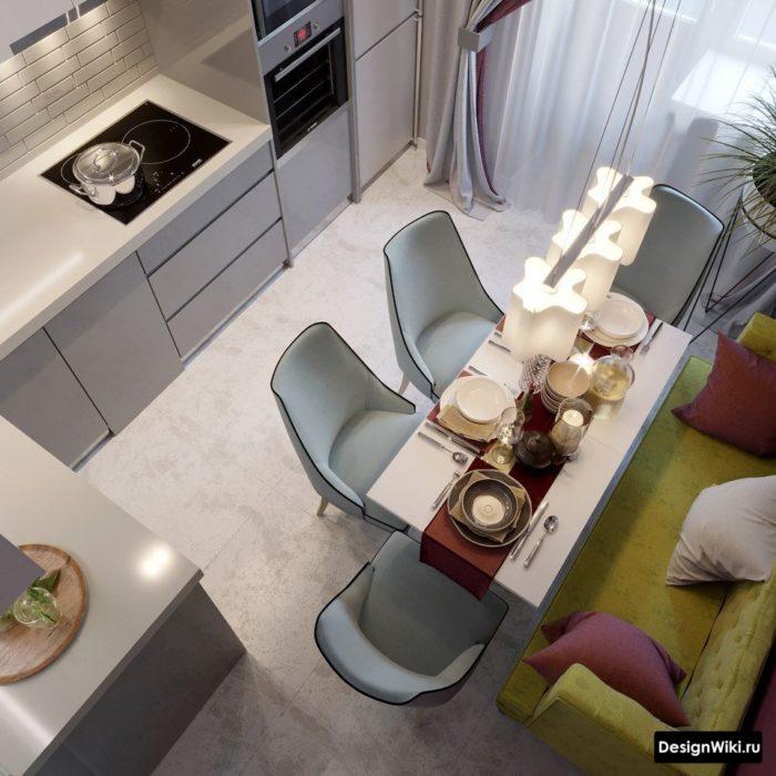дизайн кухни 9 кв м с холодильником