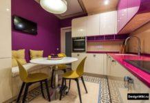 дизайн бело-розовой кухни 9 м2