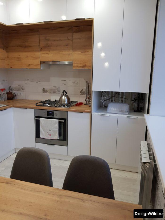 проект угловой кухни 9 кв м