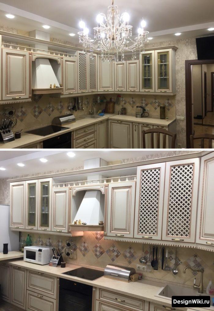 бежевая кухня в светлых тонах в классическом стиле