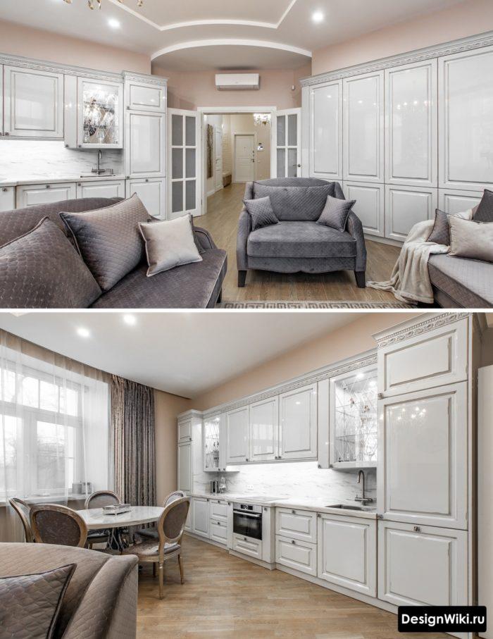 глянцевая белая кухня в классическом стиле
