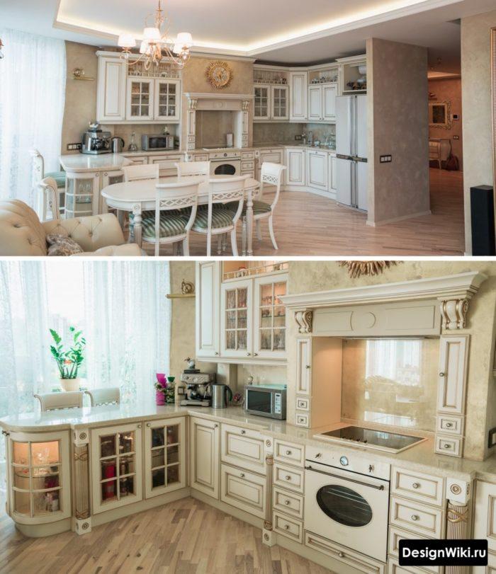 дизайн интерьера кухни гостиной в стиле современная классика