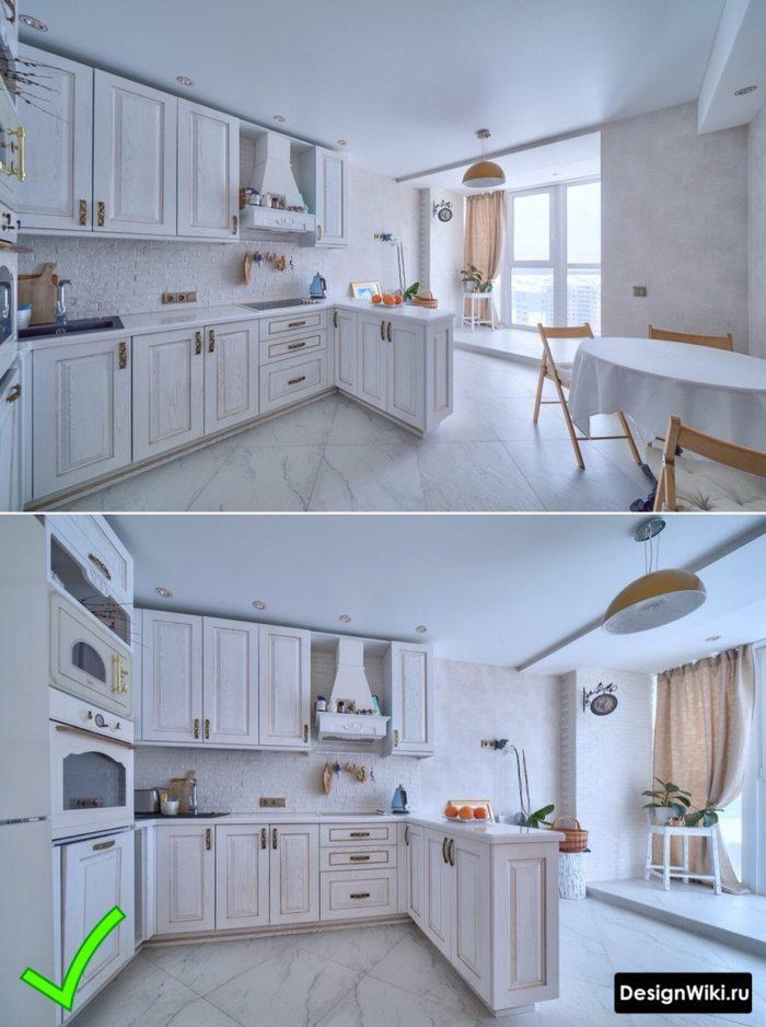 классическая кухня в светлых тонах в интерьере