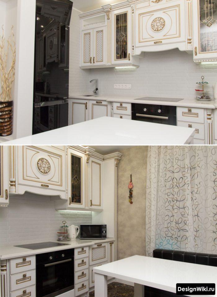 классическая кухня с черным глянцевым холодильником