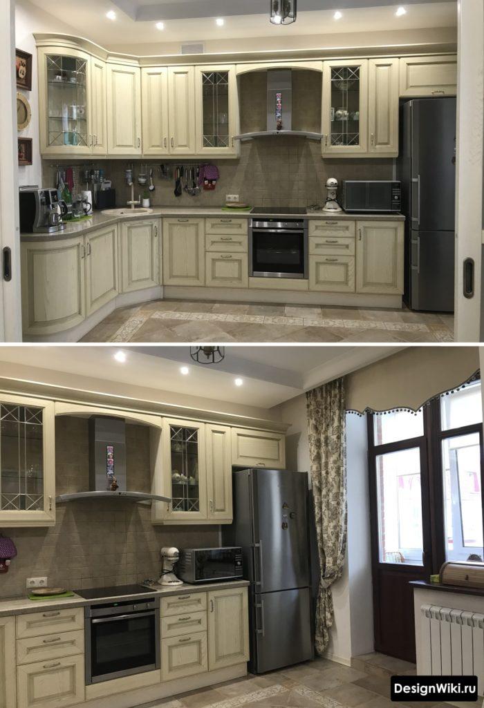 кухня классика белая с балконом