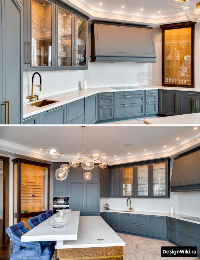 серо-синяя кухня в стиле неоклассика