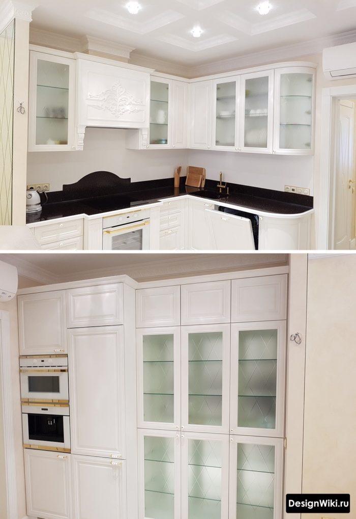 угловая кухня классика светлая с порталом