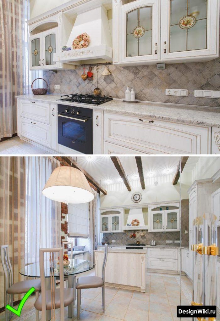 шторы под классическую кухню