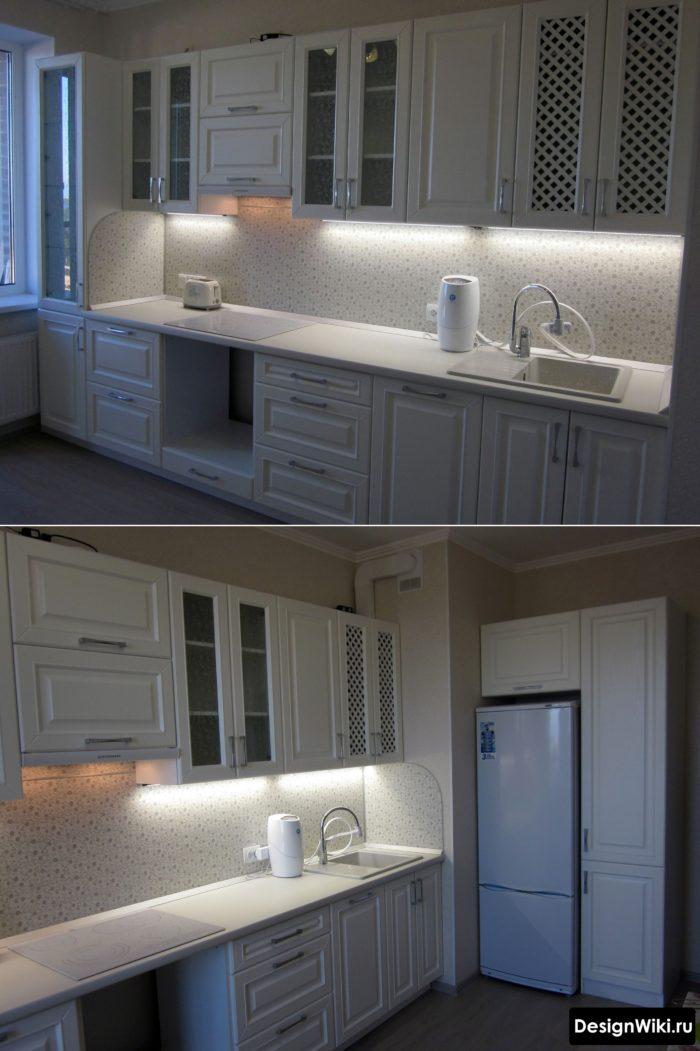 Подсветка пластикового фартука на кухне