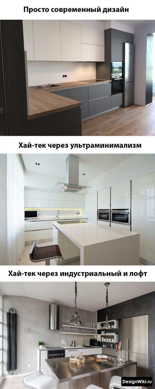 Современный дизайн кухни в стиле хай тек и минимализм