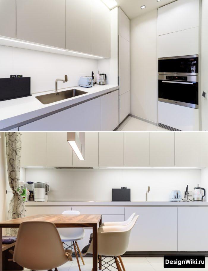 Стильная белая кухня в стиле хай-тек в реальной квартире