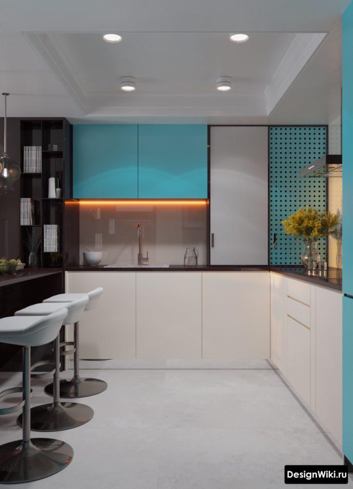 бело-голубая кухня в стиле хай-тек