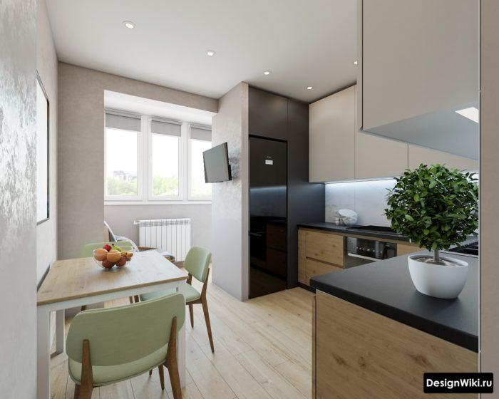 дизайн интерьера кухни 10 кв м с лоджией