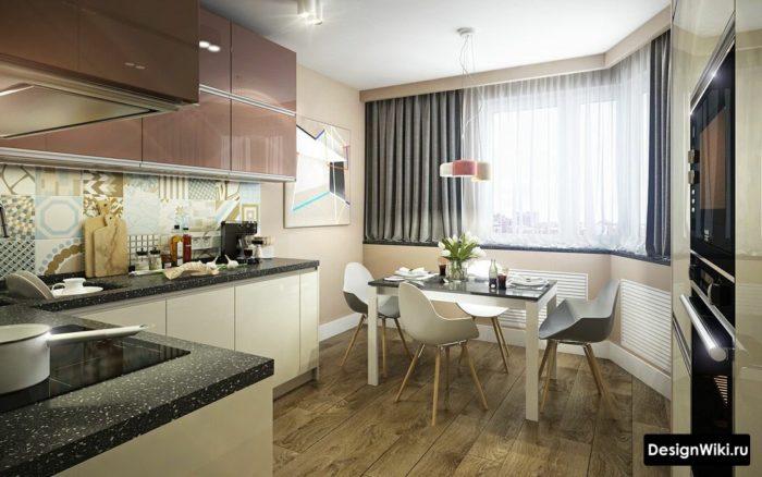дизайн квадратной кухни 12 кв м
