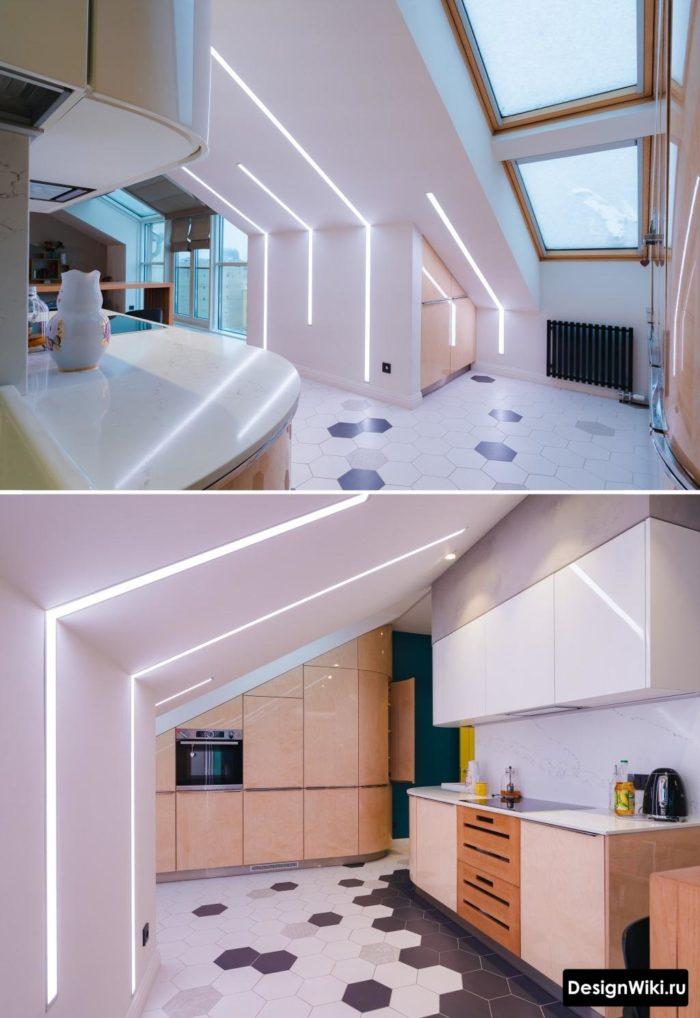 дизайн кухни гостиной хай тек со скрытым светом