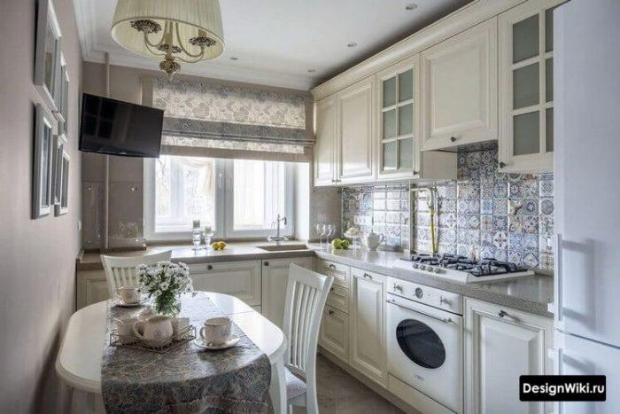 дизайн кухни 10 метров в классическом стиле со столом