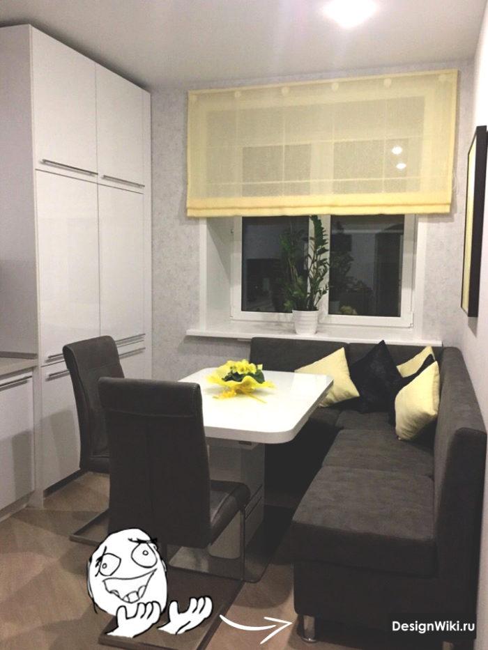 дизайн кухни 12 кв м с диваном и телевизором