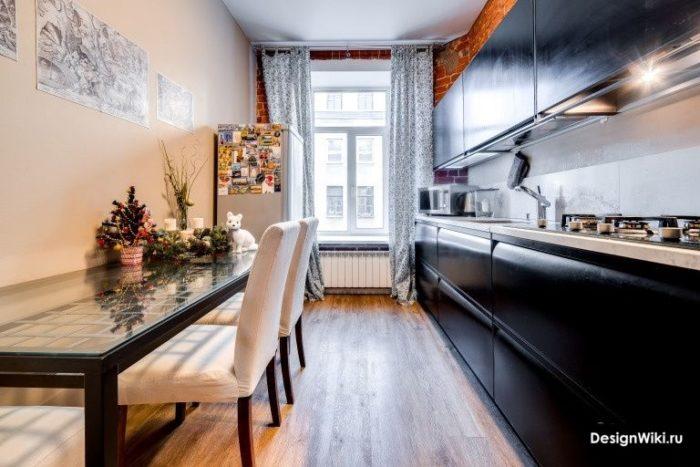 дизайн кухни 12 метров с балконной дверью