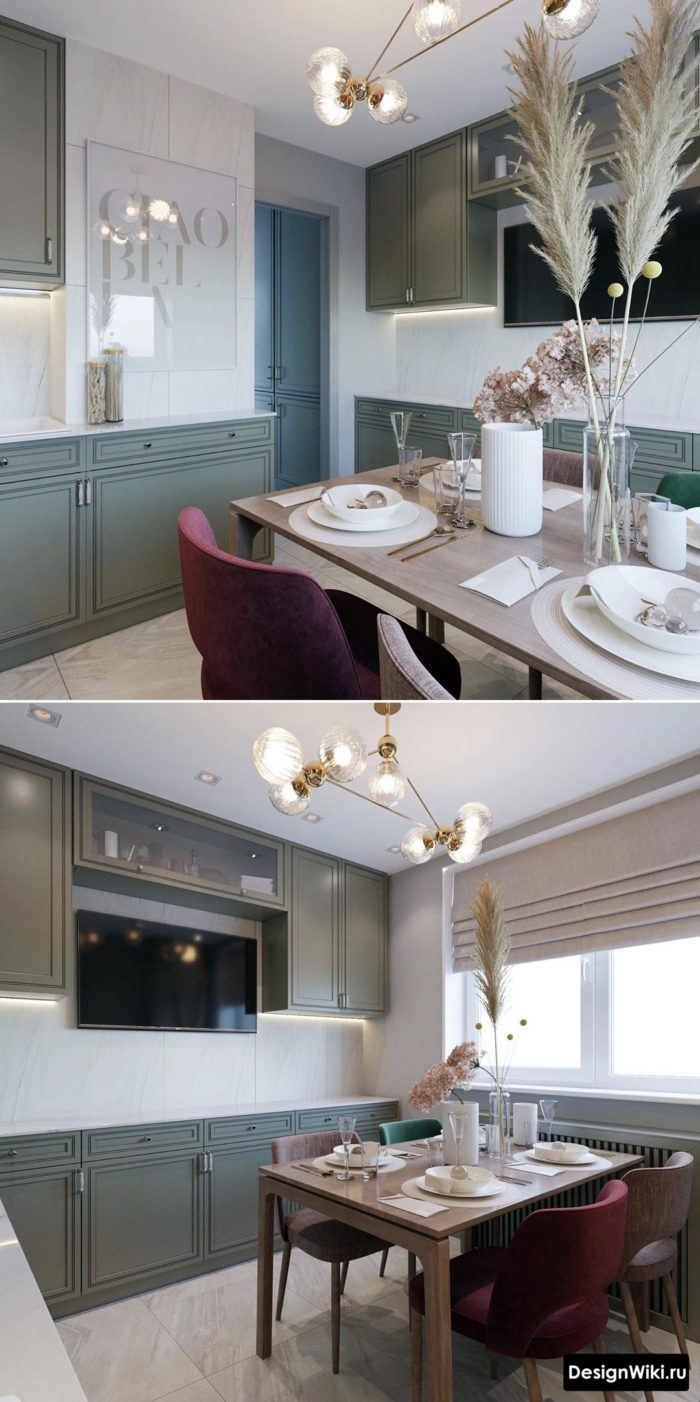 дизайн проект кухня 12 м в стиле неоклассика